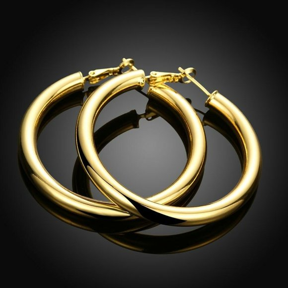 Gem Emporium Jewelry - 18K Gold Filled 5mm thick Round 50MM Hoop Earrings